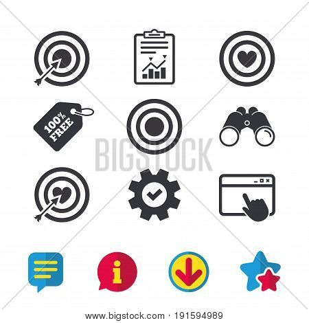 Target aim icons. Darts board with heart and arrow signs symbols. Browser window, Report and Service signs. Binoculars, Information and Download icons. Stars and Chat. Vector