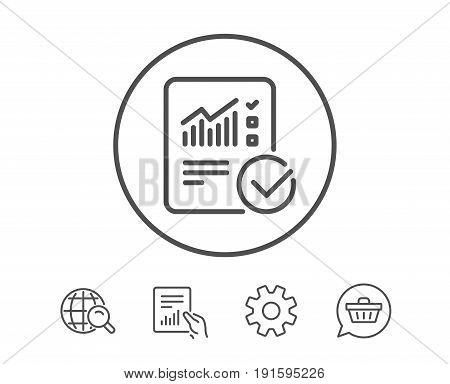 Checklist document line icon. Analysis Chart or Sales growth report sign. Statistics data symbol. Hold Report, Service and Global search line signs. Shopping cart icon. Editable stroke. Vector