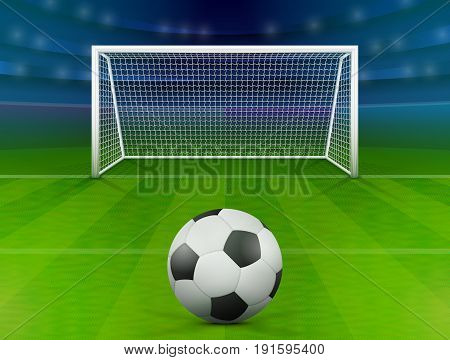 Soccer ball on green field in front of goal post. Association football ball against soccer stadium. Best vector illustration for soccer sport game football championship gameplay etc