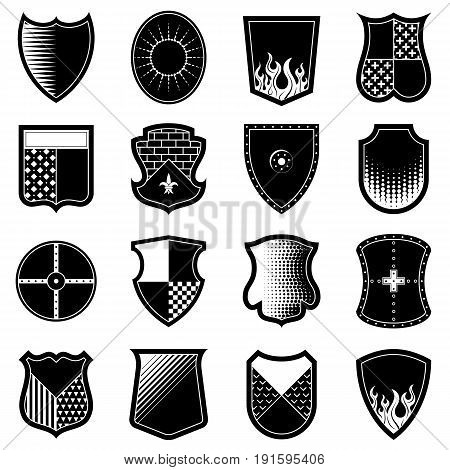 Icon set of shields in black-and-white colors. Heraldic crest shape collection. Best vector element for coat of arms design logo heraldry emblem security tattoo etc