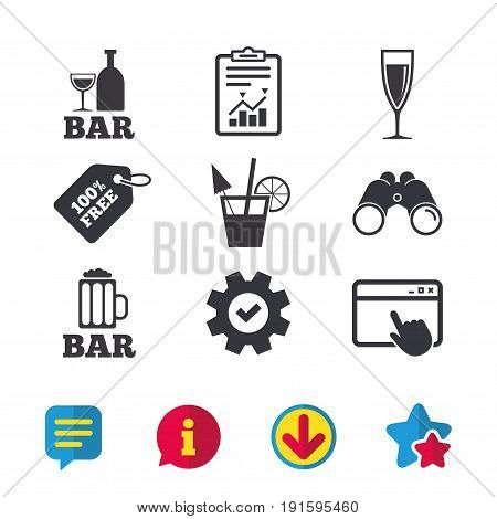 Bar or Pub icons. Glass of beer and champagne signs. Alcohol drinks and cocktail symbols. Browser window, Report and Service signs. Binoculars, Information and Download icons. Stars and Chat. Vector