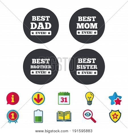 Best mom and dad, brother and sister icons. Award with exclamation symbols. Calendar, Information and Download signs. Stars, Award and Book icons. Light bulb, Shield and Search. Vector