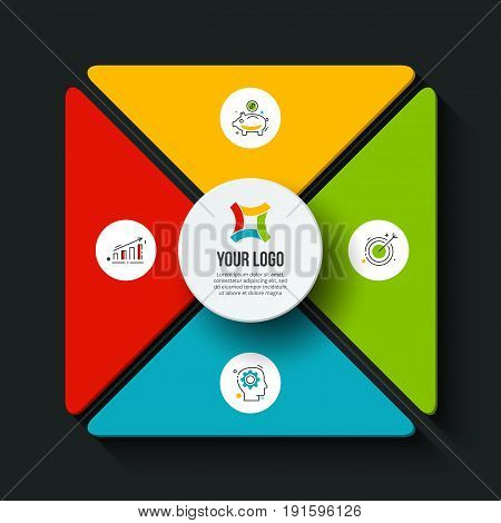 Vector dark square infographic. Template for cycle diagram, graph, presentation and chart. Business concept with 4 options, parts, steps or processes. Data visualization.