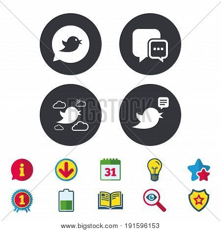 Birds icons. Social media speech bubble. Chat bubble with three dots symbol. Calendar, Information and Download signs. Stars, Award and Book icons. Light bulb, Shield and Search. Vector