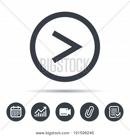 Arrow icon. Next navigation symbol. Calendar, chart and checklist signs. Video camera and attach clip web icons. Vector