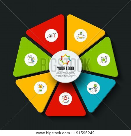 Vector dark heptagon infographic. Template for cycle diagram, graph, presentation and chart. Business concept with 7 options, parts, steps or processes. Data visualization.