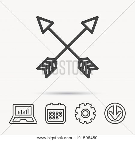 Bow arrows icon. Hunting sport equipment sign. Archer weapon symbol. Notebook, Calendar and Cogwheel signs. Download arrow web icon. Vector