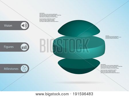 3D Illustration Infographic Template With Ball Horizontally Divided To Three Standalone Green Parts