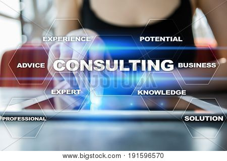 Consulting business concept. Text and icons on virtual screen