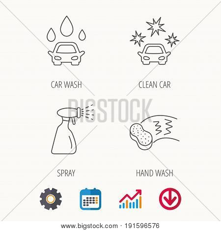 Car wash icons. Automatic cleaning station linear signs. Hand wash, sponge and spray flat line icons. Calendar, Graph chart and Cogwheel signs. Download colored web icon. Vector