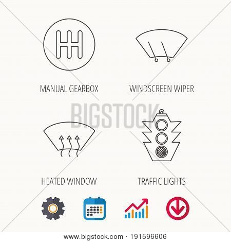Traffic lights, manual gearbox and wiper icons. Heated window, manual transmission linear signs. Washing window icon. Calendar, Graph chart and Cogwheel signs. Download colored web icon. Vector