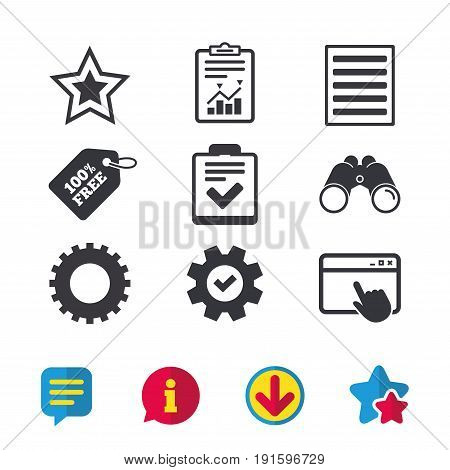 Star favorite and menu list icons. Checklist and cogwheel gear sign symbols. Browser window, Report and Service signs. Binoculars, Information and Download icons. Stars and Chat. Vector