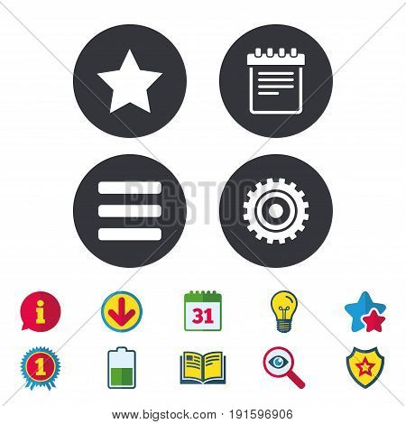 Star favorite and menu list icons. Notepad and cogwheel gear sign symbols. Calendar, Information and Download signs. Stars, Award and Book icons. Light bulb, Shield and Search. Vector