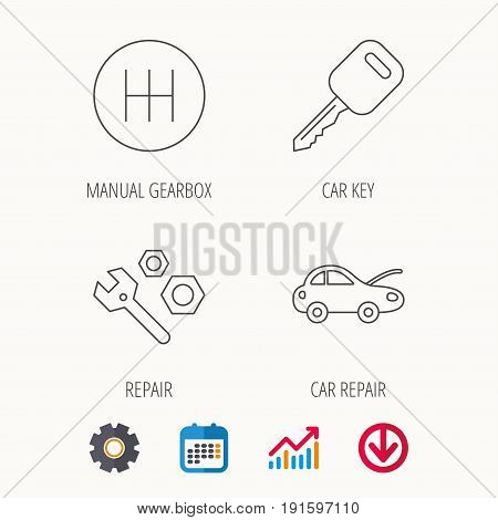 Car key, repair tools and manual gearbox icons. Car repair, transmission linear signs. Calendar, Graph chart and Cogwheel signs. Download colored web icon. Vector