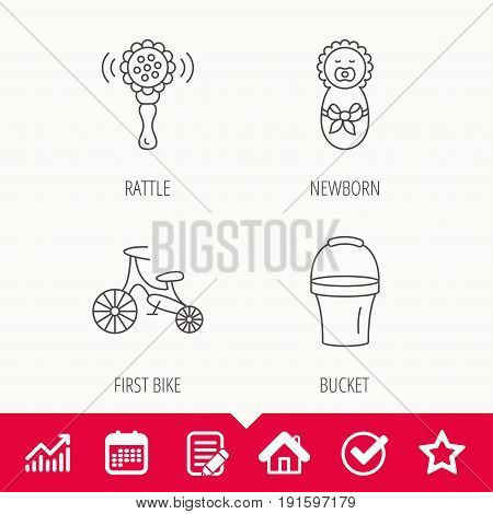 Newborn, rattle and first bike icons. Newborn child, bucket linear signs. Edit document, Calendar and Graph chart signs. Star, Check and House web icons. Vector