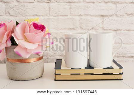 Two Mugs. White Mugs Mockup. Blank White Coffee Mug Mock Up. Styled Photography. Coffee Cup Product