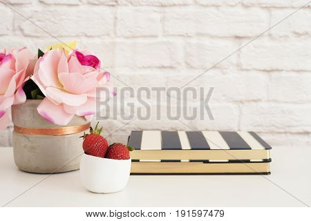 Pink Roses Mock Up. Styled Photography. Brick Wall Product Display. Strawberries On Striped Design N