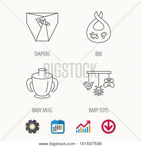 Diapers, child mug and baby toys icons. Dirty bib linear sign. Calendar, Graph chart and Cogwheel signs. Download colored web icon. Vector