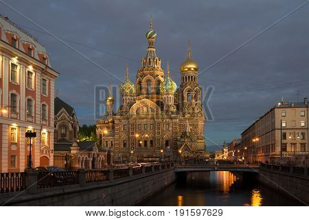 SAINT-PETERSBURG, RUSSIA - MAY 29, 2017: Cathedral of the Resurrection of Christ (Savior-on-the-Blood) in a night landscape. View from the Griboedov Canal