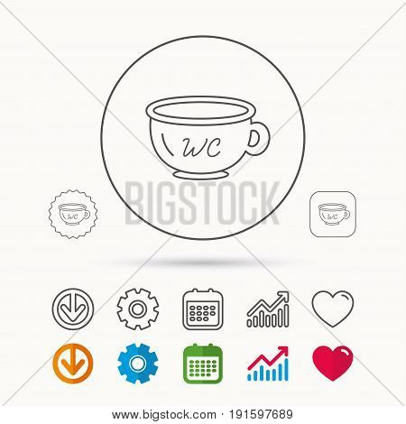 Baby wc pot icon. Child toilet sign. Washroom or lavatory symbol. Calendar, Graph chart and Cogwheel signs. Download and Heart love linear web icons. Vector