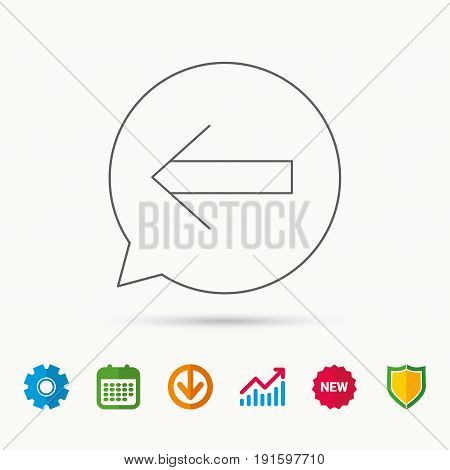 Back arrow icon. Previous sign. Left direction symbol. Calendar, Graph chart and Cogwheel signs. Download and Shield web icons. Vector