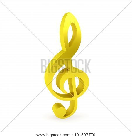 Curved golden treble clef rendered with soft shadows on white background