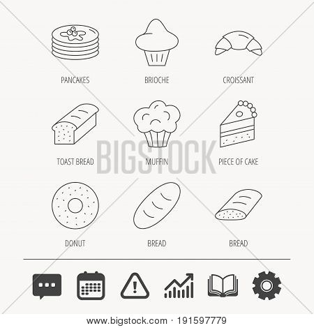 Croissant, cake and bread icons. Muffin, brioche and sweet donut linear signs. Pancakes with syrup flat line icons. Education book, Graph chart and Chat signs. Vector