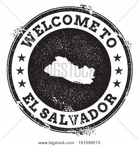 Vintage Passport Welcome Stamp With El Salvador Map. Grunge Rubber Stamp With Welcome To El Salvador