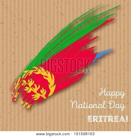 Eritrea Independence Day Patriotic Design. Expressive Brush Stroke In National Flag Colors On Kraft