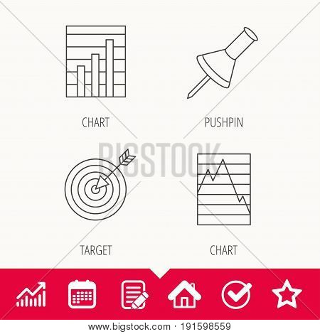 Pushpin, graph charts and target icons. Supply and demand linear signs. Edit document, Calendar and Graph chart signs. Star, Check and House web icons. Vector