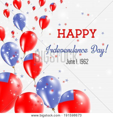 Samoa Independence Day Greeting Card. Flying Balloons In Samoa National Colors. Happy Independence D