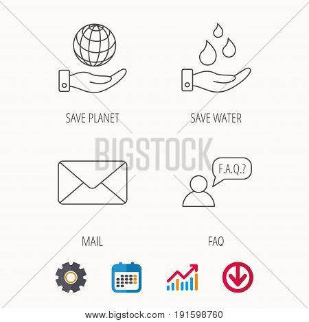 Mail, save water and faq speech bubble icons. Save planet linear sign. Calendar, Graph chart and Cogwheel signs. Download colored web icon. Vector
