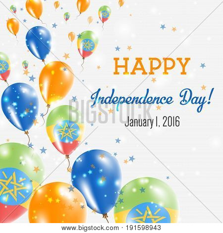 Ethiopia Independence Day Greeting Card. Flying Balloons In Ethiopia National Colors. Happy Independ