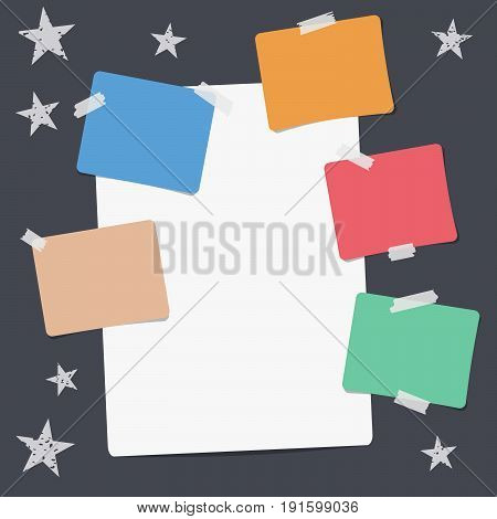 White and colorful note, notebook, copybook paper sheets, stuck with sticky tape, stars on black background