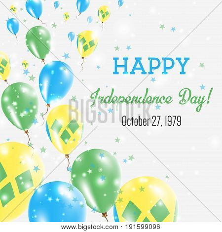 Saint Vincent And The Grenadines Independence Day Greeting Card. Flying Balloons In Saint Vincent An
