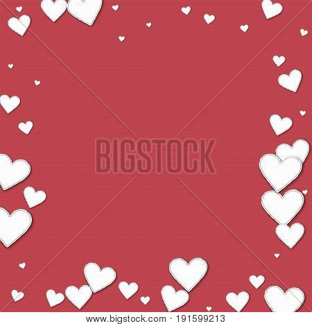 Cutout Paper Hearts. Chaotic Border On Crimson Background. Vector Illustration.