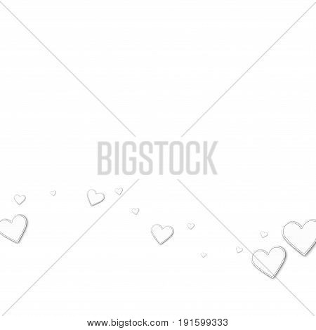 Cutout Paper Hearts. Bottom Wave On White Background. Vector Illustration.