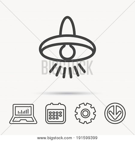 Ceiling lamp icon. Light illumination sign. Notebook, Calendar and Cogwheel signs. Download arrow web icon. Vector