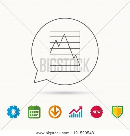 Chart curve icon. Graph diagram sign. Demand reduction symbol. Calendar, Graph chart and Cogwheel signs. Download and Shield web icons. Vector