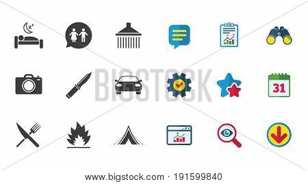 Hiking trip icons. Camping, shower and wc toilet signs. Tourist tent, fork and knife symbols. Calendar, Report and Download signs. Stars, Service and Search icons. Statistics, Binoculars and Chat