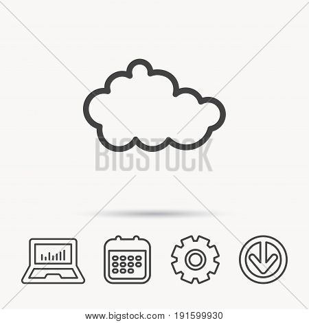 Cloud icon. Overcast weather sign. Meteorology symbol. Notebook, Calendar and Cogwheel signs. Download arrow web icon. Vector