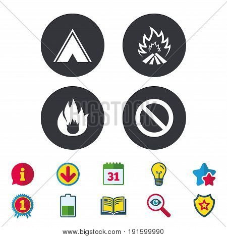 Tourist camping tent icon. Fire flame and stop prohibition sign symbols. Calendar, Information and Download signs. Stars, Award and Book icons. Light bulb, Shield and Search. Vector