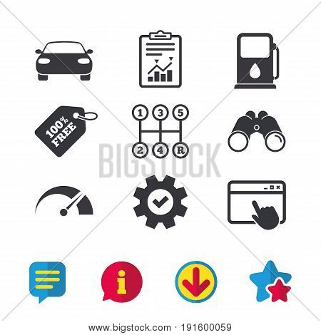 Transport icons. Car tachometer and manual transmission symbols. Petrol or Gas station sign. Browser window, Report and Service signs. Binoculars, Information and Download icons. Stars and Chat