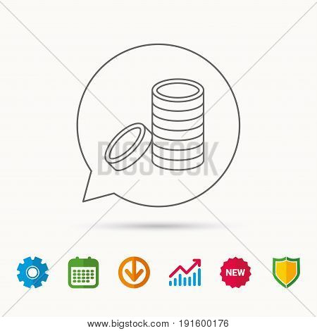 Coins icon. Cash money sign. Bank finance symbol. Calendar, Graph chart and Cogwheel signs. Download and Shield web icons. Vector