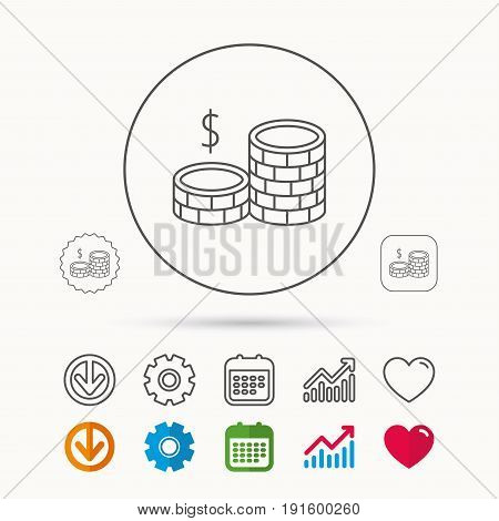 Dollar coins icon. Cash money sign. Bank finance symbol. Calendar, Graph chart and Cogwheel signs. Download and Heart love linear web icons. Vector
