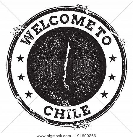 Vintage Passport Welcome Stamp With Chile Map. Grunge Rubber Stamp With Welcome To Chile Text, Vecto