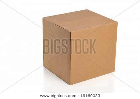 Cardboard box isolated on a white background poster