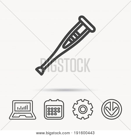 Crutch icon. Orthopedic therapy sign. Medical care equipment symbol. Notebook, Calendar and Cogwheel signs. Download arrow web icon. Vector