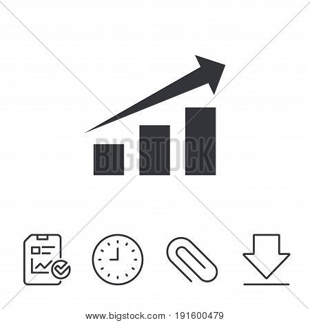 Chart with arrow sign icon. Success diagram symbol. Statistics. Report, Time and Download line signs. Paper Clip linear icon. Vector
