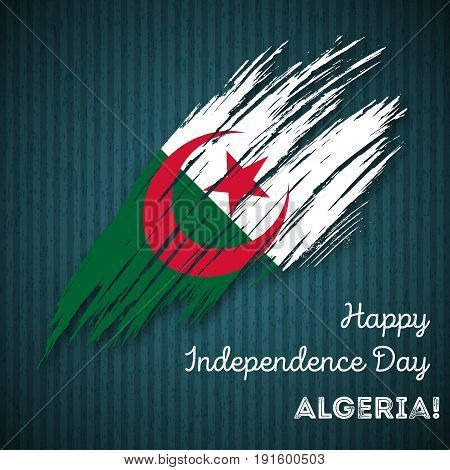Algeria Independence Day Patriotic Design. Expressive Brush Stroke In National Flag Colors On Dark S